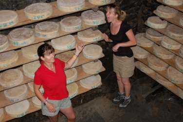 Dani and Anne trying the cheeses....